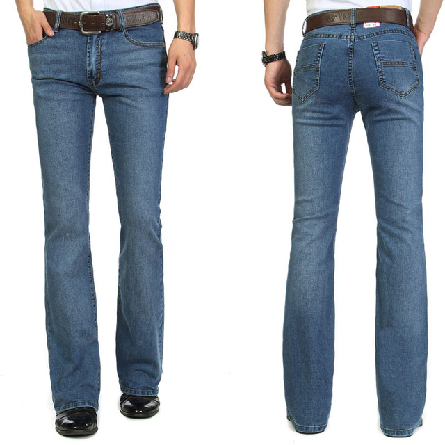 High Quality 2016 menu0026#39;s bell bottom jeans male elastic slim denim boot cut trousers Handsome boy ...