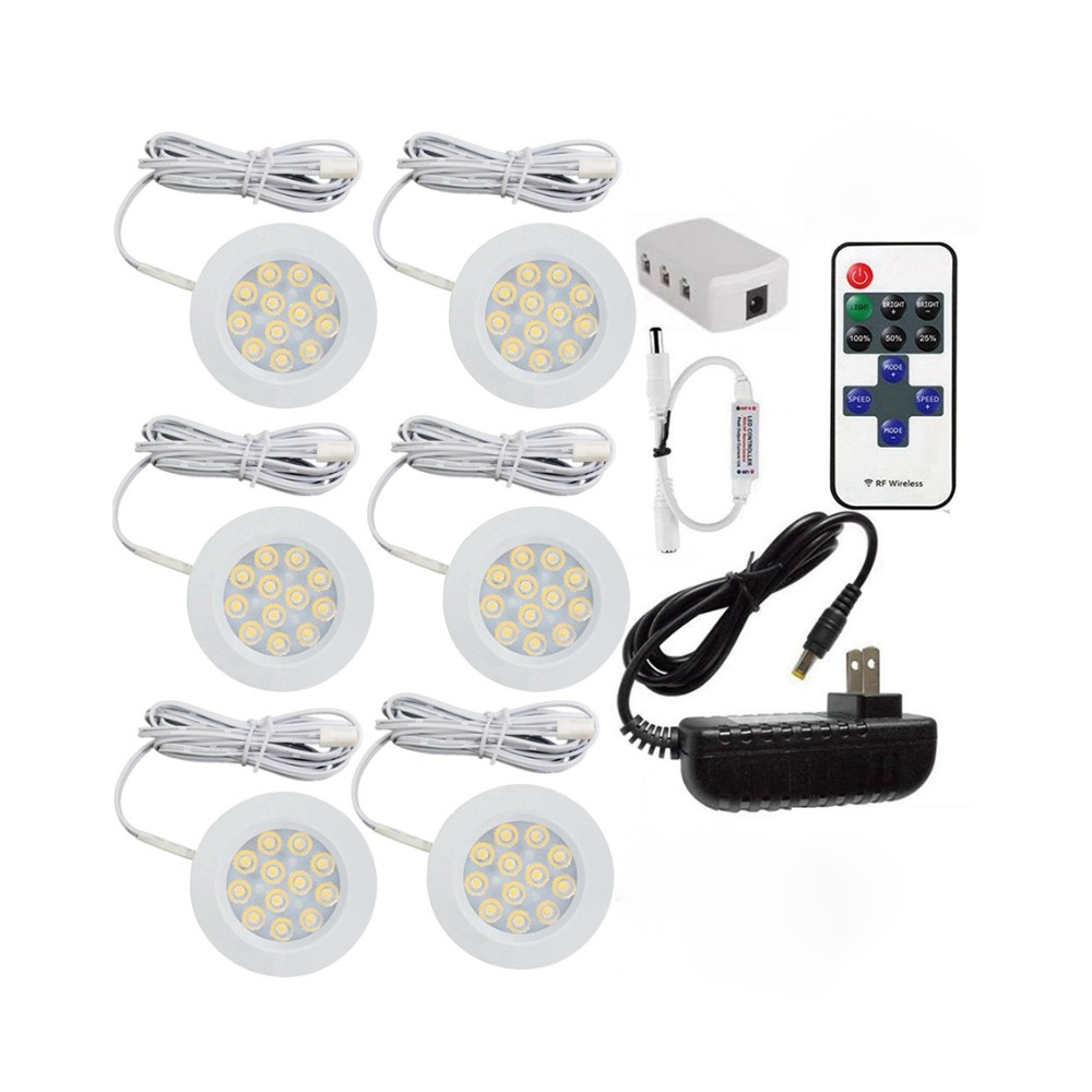 12V Dimmable LED Under Cabinet Light Kit Ultra-thin Led Puck Lights With RF Remote Controller Stick On Lights For Kitchen Closet