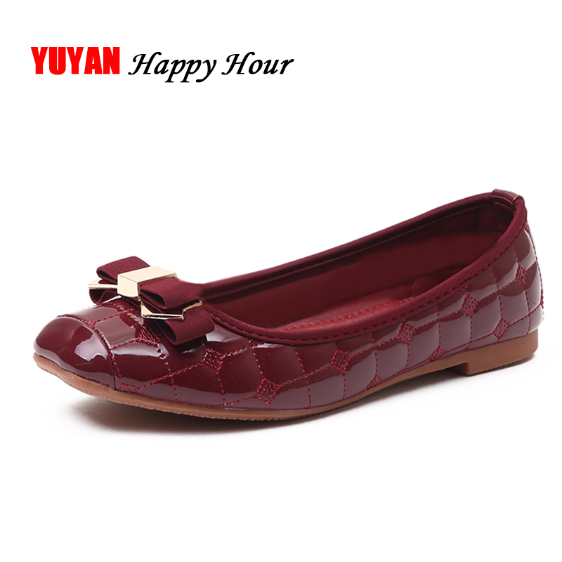 Elegant Bowtie Patent Leather Flats Women Boat Shoes Casual Flat Heel Brand Shoes Womens Flats Soft Design Plus Size 41 T095 casual fashion women shoes elegant genuine leather flats ol flower design printing leather shoes famous brand girl shoes f002