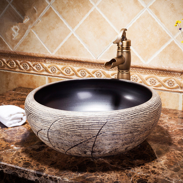 Europe Style Counter Top Porcelain Wash Basin Bathroom Sinks Ceramic Patterned Sink