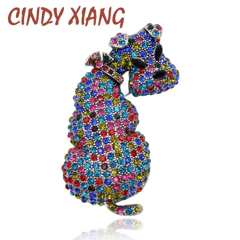 CINDY XIANG új strasszos aranyos kutya brossok női állat nagy bross csapok téli ruha kiegészítők divat ékszer ajándék