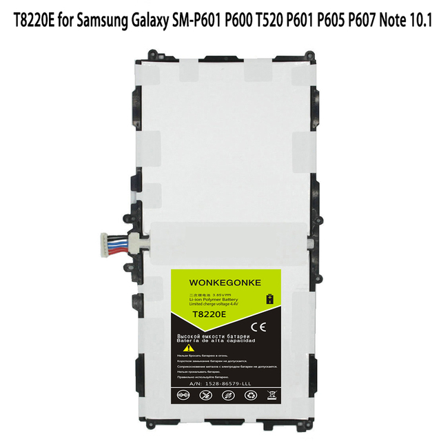 WONKEGONKE T8220E pour Samsung Galaxy SM-P601 P600 T520 P601 P605 P607 Note 10.1 2014 édition 8220mAh Batteries
