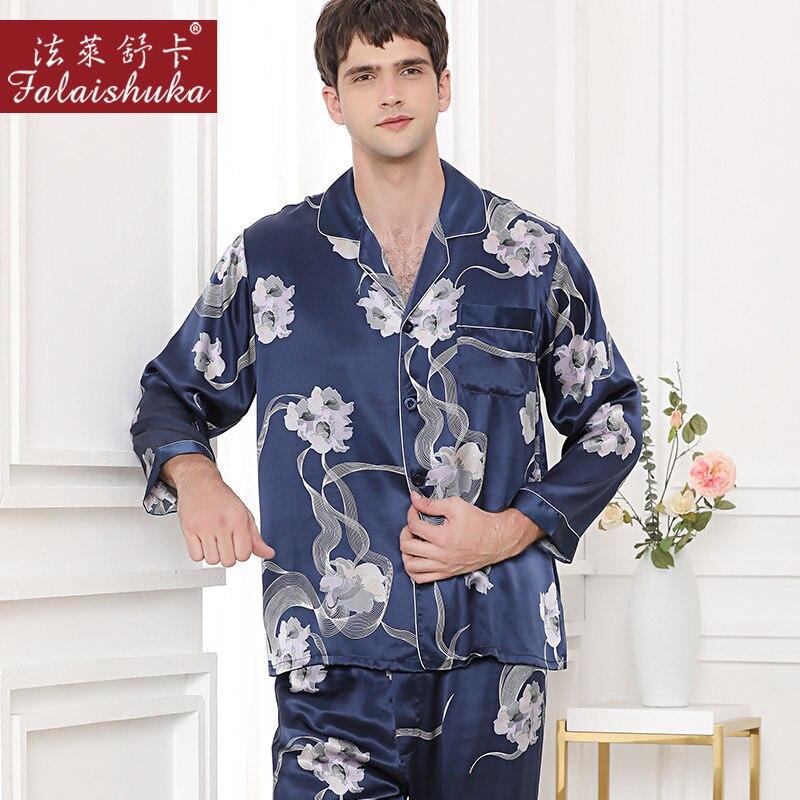 19 Momme Chinese Style Fashion 100% Real Silk Pajamas Sets Men Sleepwear Long Sleeve Male Male Pyjamas Elegant Pajamas Men