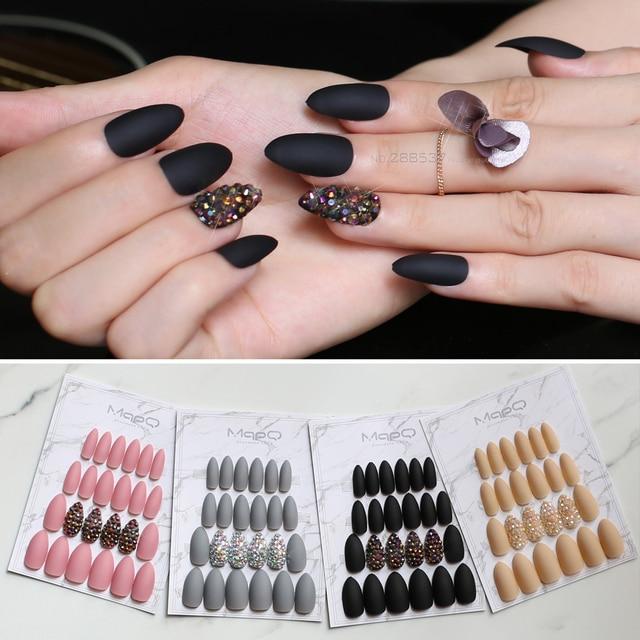 Matte Pink Press On Nails Bling Crystal Nail Art False Short Pointed Black Stiletto