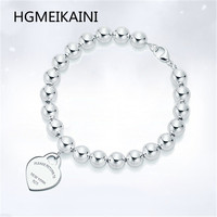 Tiff original authentic 100% 925 sterling silver charm bracelet love fashion lady's romantic gift pendant jewelry