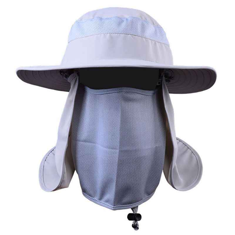 d944aa2fa78 ... Outdoor 360 degree Assembled Neck Cover Boonie Fish Camping Hunting Snap  Hat Brim Cap Ear Sun ...