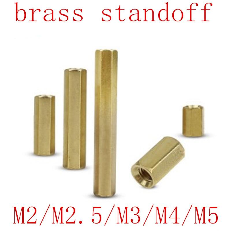 5-50pcs Hex Female to Female M2 M2.5 M3 M4 M5 brass standoff spacer Hexagonal Stud Spacer Hollow Pillars