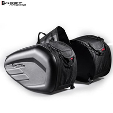 GHOST RACING 58L Waterproof Motorcycle Saddle bags Maleta Moto Riding Helmet Bag Side Tail Luggage Suitcase with Rain Cover