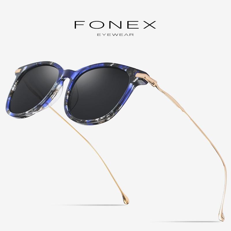 Pure B Titanium Acetate Polarized Sunglasses Men 2019 Brand Designer Vintage Square Mirror Colorful Sun Glasses for Women 854