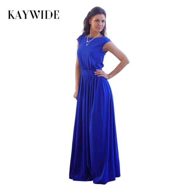 KAYWIDE 2016 Summer Elegant Beach Dress with Sashes Pleated Robe Empire Blue Long Maxi Dresses Plus Size Belt Women Clothing