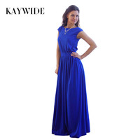 KAYWIDE 2016 Summer Elegant Beach Dress With Sashes Pleated Robe Empire Blue Long Maxi Dresses Plus