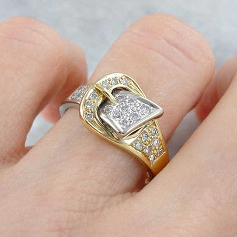 Shiny Belt Finger Rings for Women Exquisite Paved Cubic Zircon Crystal Bijoux Gold Color Men Ring High Quality Jewelry O5M320