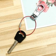 1.5*150mm EDC Keychain Tag Rope Stainless Steel Wire Cable Loop Screw Lock Gadget Ring Key Keyring Circle Camp Hanging Tool(China)