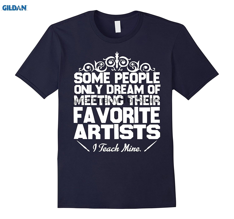 GILDAN 100% cotton O-neck printed T-shirt I Teach Mine Art Teacher Gift T-Shirt
