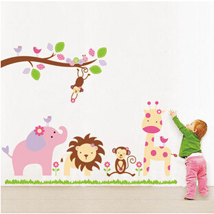 Mono elefante león Jungle Safari Animal Bosque etiqueta de la pared para niños habitación 869 decorativo
