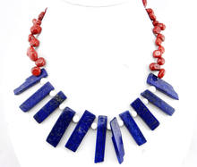 FREE SHIPPING>>>@@> N113 RAW lapis lazuli Necklace Ladies Handmade Natural Jewellery -Bride jewelry free shipping(China)
