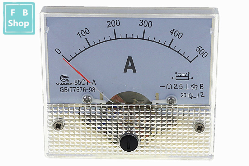 1PCS 85C1-A <font><b>100A</b></font> 150A 200A 250A 300A 400A 500A <font><b>DC</b></font> Analog Meter Panel AMP Current Ammeters Gauge image