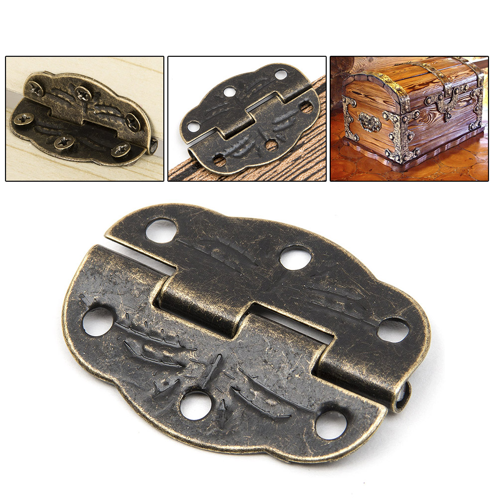 12pcs/set Cabinet Door Butt Hinges Drawer Bronze Decorative corners Butterfly Hinges For Fittings Furniture Storage Wooden Box