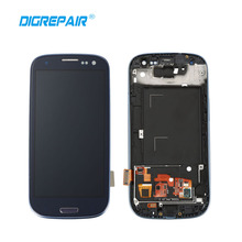 Blue LCD Display Touch Screen with Digitizer Full Assembly Repair Parts with Frame For Samsung Galaxy S3 SIII I9300, Free Ship