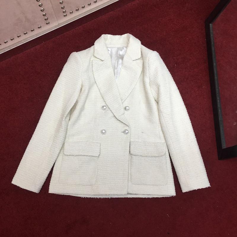 Newest Runweay Designer 2019 New Blazer Women's Pearls Buttons Notched Callar Tweed Blazer Coat Elegant Office Lady Overcoat