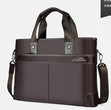 Business Casual Men's Handbag Men Briefcase File Package Black PU Leather Canvas Stripe Shoulder Laptop Bags Male Bolsa Mochila