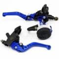 "Universal 7/8"" 22mm Blue Motorcycle Brake Clutch Master Cylinder Reservoir Levers Set For Honda Suzuki Kawasaki Yamaha D25"