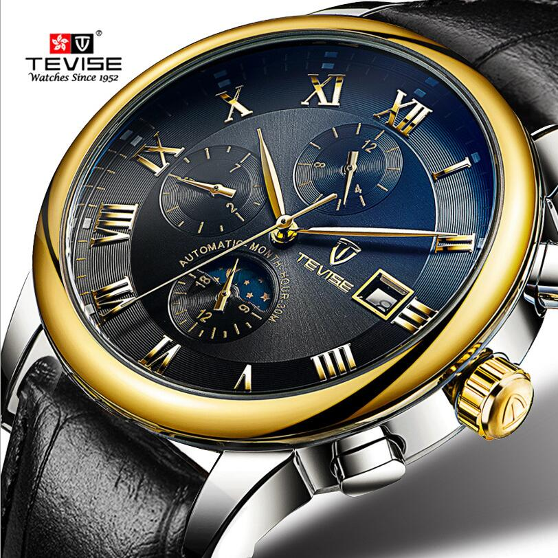 Luxury Tevise Men's Roman Numberals Day/Month Moonphase Auto Mechanical Watches Wristwatch Gift Box Free Ship reloj hombre jaragar fashion watch mens moonphase flywheel auto mechanical stell wristwatch gift box free ship