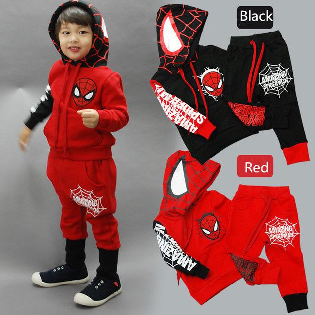 Los niños del hombre araña muchachos fijados ropa del bebé del muchacho del hombre araña de los deportes trajes de 2-6 años niños 2 unids arropan primavera ropa otoño chándales