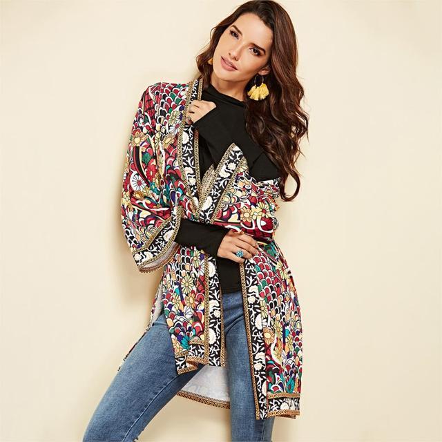 Ethnic Floral Print Jacket 2020 Women Autumn Winter Long Sleeve Side Split Casual Outerwear Ladies Retro Long Cardigan Jacket