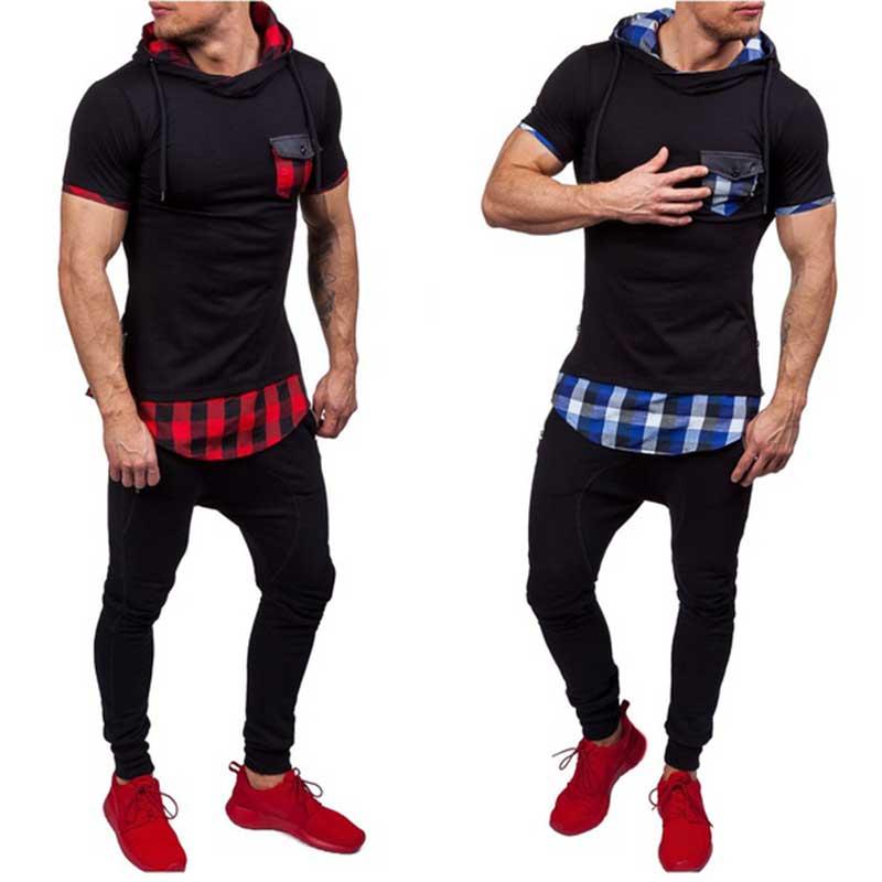 2019 New Fashion Men Hoodies Hip Hop Mens Patchwork Collar Pullover Short Sleeve Hoodie Sweatshirt Slim Fit Men