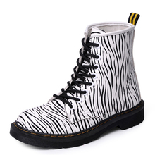 New Autumn Boots Women Sexy Zebra Texture Cowboy Women Martin Boots Fashion Soft Leather Graffiti Casual Female Mujer
