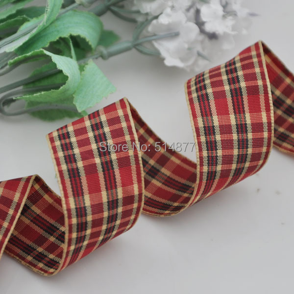 1 25mm Wine Color font b Tartan b font Plaid Ribbon Bows Appliques Sewing Crafts 10Y