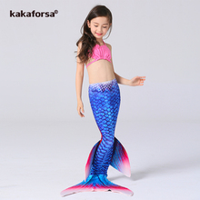 Kakaforsa New 3PCS Kids Girls Mermaid Tail Bikini Set Cute Swimming Suit Lovely Princess Children Baby