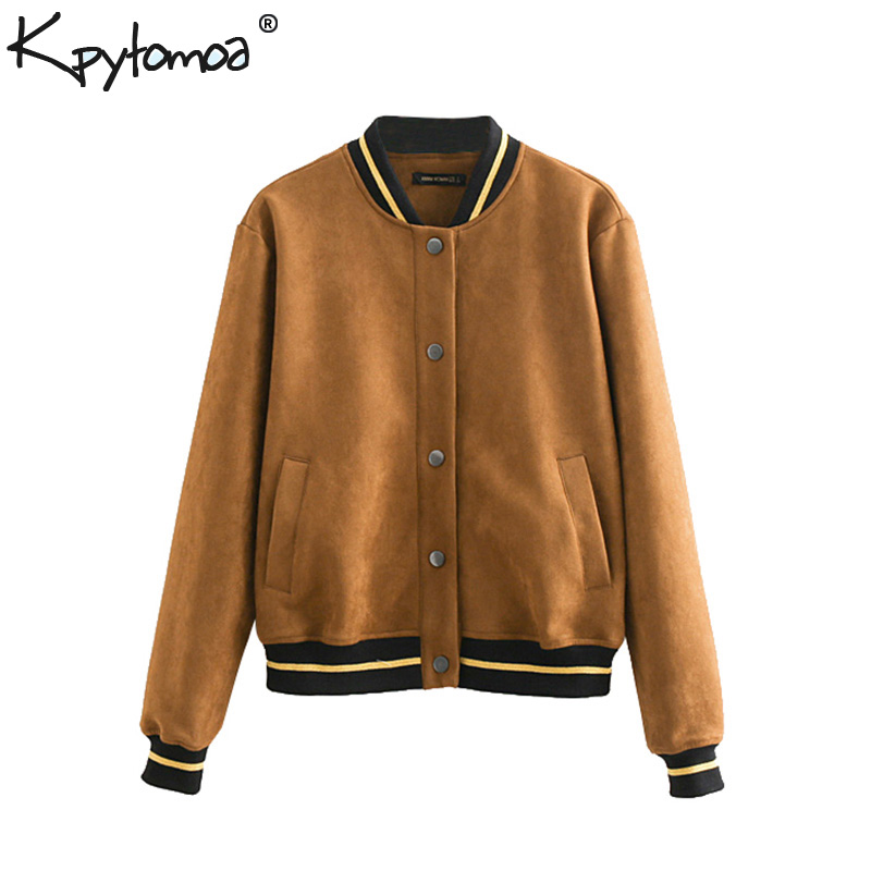 Vintage Chic Ribbed Faux Suede Bomber Jacket Coat Women 2018 Fashion Stand Collar Long Sleeve Outerwear Casual Casaco Femme