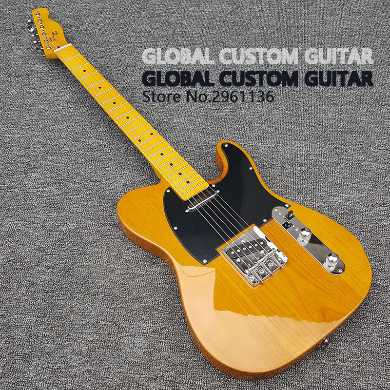 High quality tl Electric guitar Alder body 6 Strings Guitars,yellow color,Real photos,free shipping каталог flambe