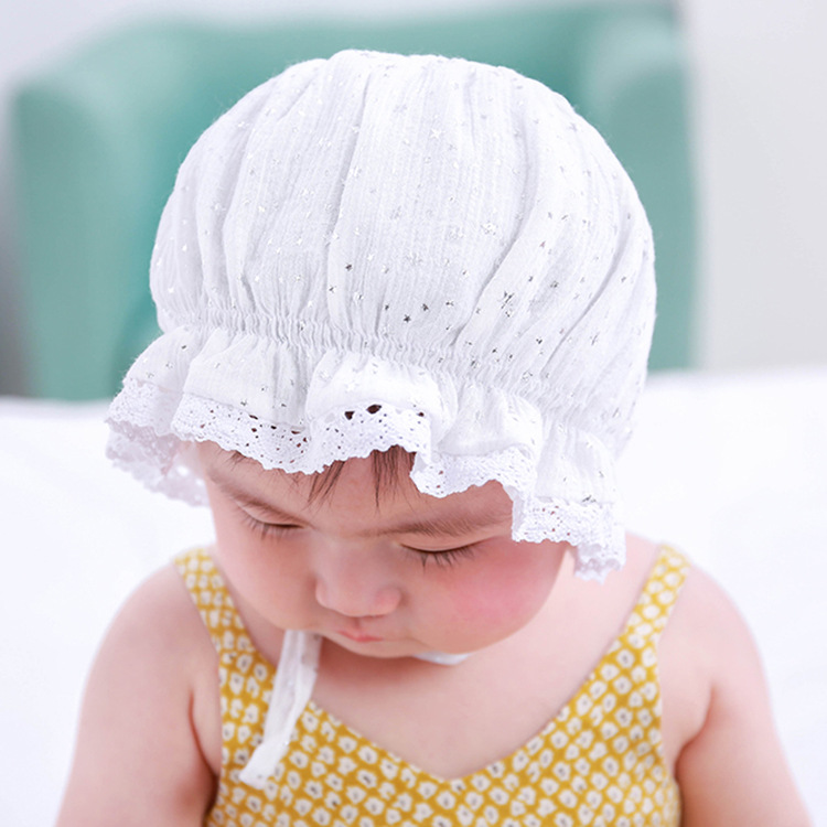 2017 New 1x Baby Girl Hat Spring Summer Princess Hat Earflaps Baby Hat  White Gray Star Print Infant Bonnet Christmas Gift TSBJ-in Hats   Caps from  Mother ... d37d8b5db5e