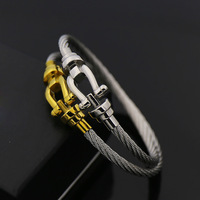 DJMACC Classic Brand Design Horseshoe Bangle Luxury Stainless Steel Gold And Silver Color Love Bracelets Women