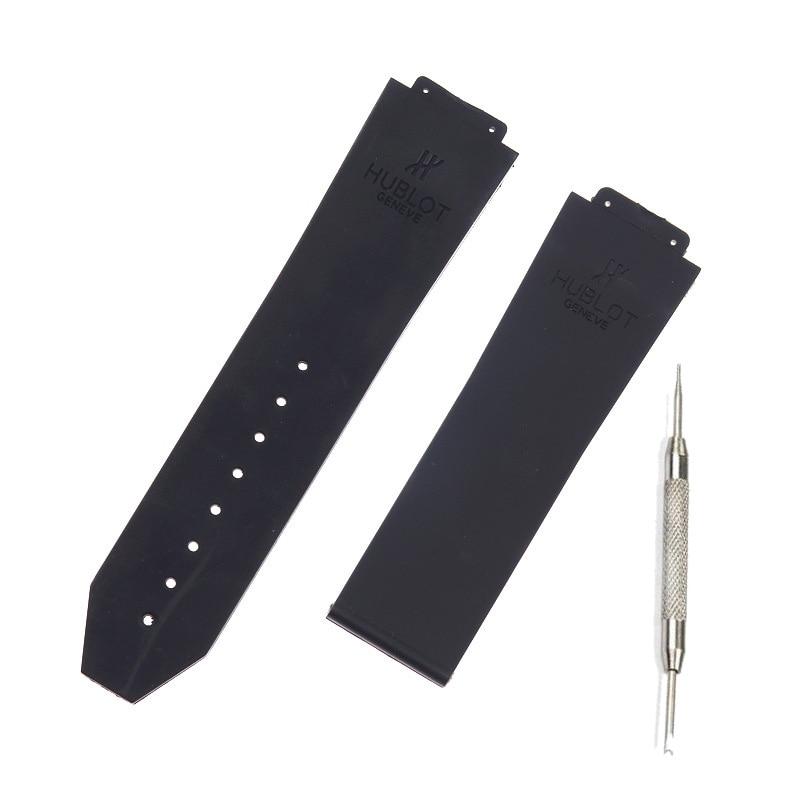 Relógio acessórios de Silicone Strap Para Homens Pulseiras de Relógio Hublot para BIG BANG 25*17mm Cinto faixa de relógio com logotipo esporte pulseira preta
