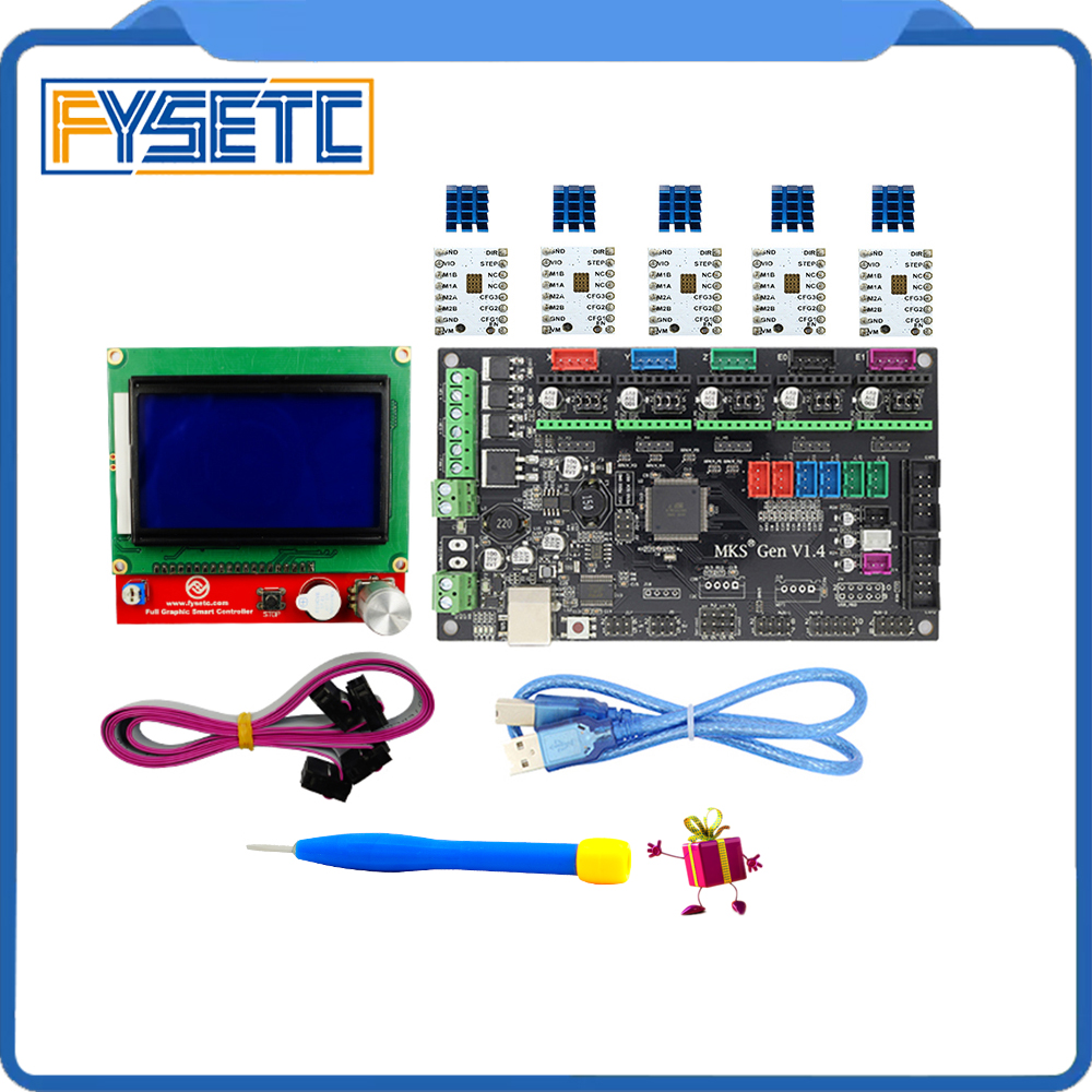 MKS Gen V1.4 3D printer kit with MKS Gen V1.4 RepRap board + 5PCS TMC2100 Driver/DRV8825/A4988 Driver+ 12864 Graphic LCD latest mks gen v1 4 control board mega 2560 r3 motherboard reprap ramps1 4 compatible with usb and 5pcs tmc2100 3d printer