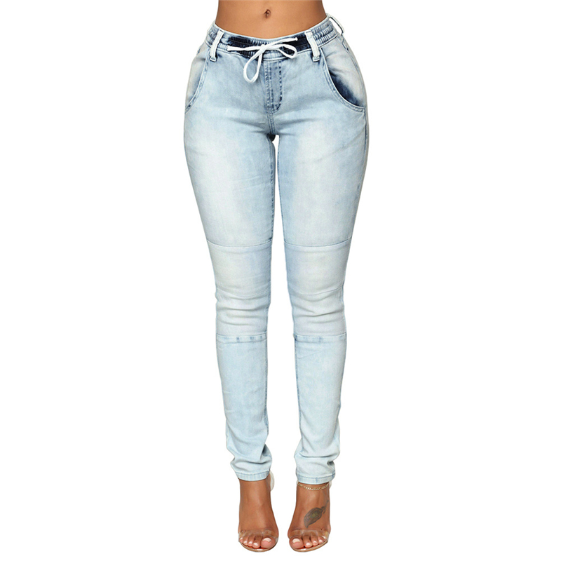 Jeans Light Blue High Waist Push Up Knee Patch Jeans For Women Sexy Ladies Butt Lift Highwaist Patchwork Jeans Denim Pants Plus Size Neither Too Hard Nor Too Soft Bottoms