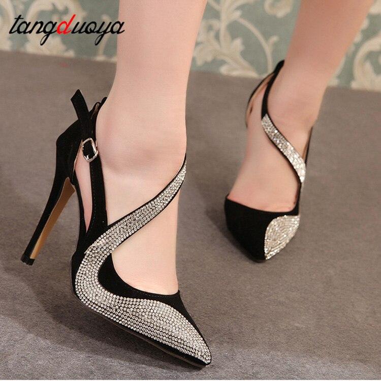 Rhinestone Pumps Women Shoes High Heels For Wedding Shoes Woman High Heel Pointed Shoes Women Pumps Sapatos Mulher Salto Alto