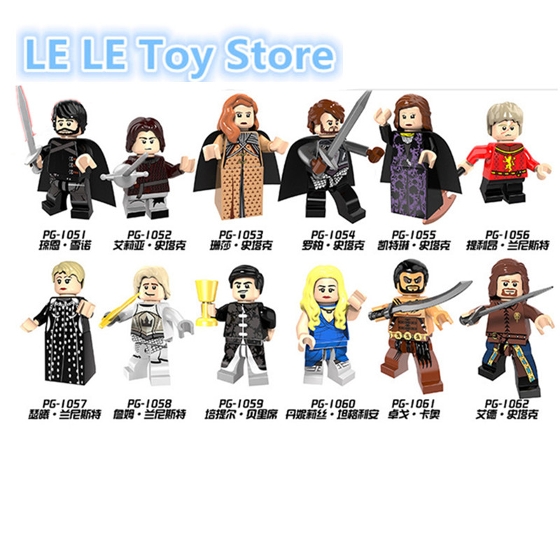 12pcs/lot PG8072 Game of Thrones Caitlin Alicia Stark Petyr Baelish Jaime Lannister Cersei Ice and Fire Building Blocks Toys martin g r r dance with dragon book 5 of song of ice and fire