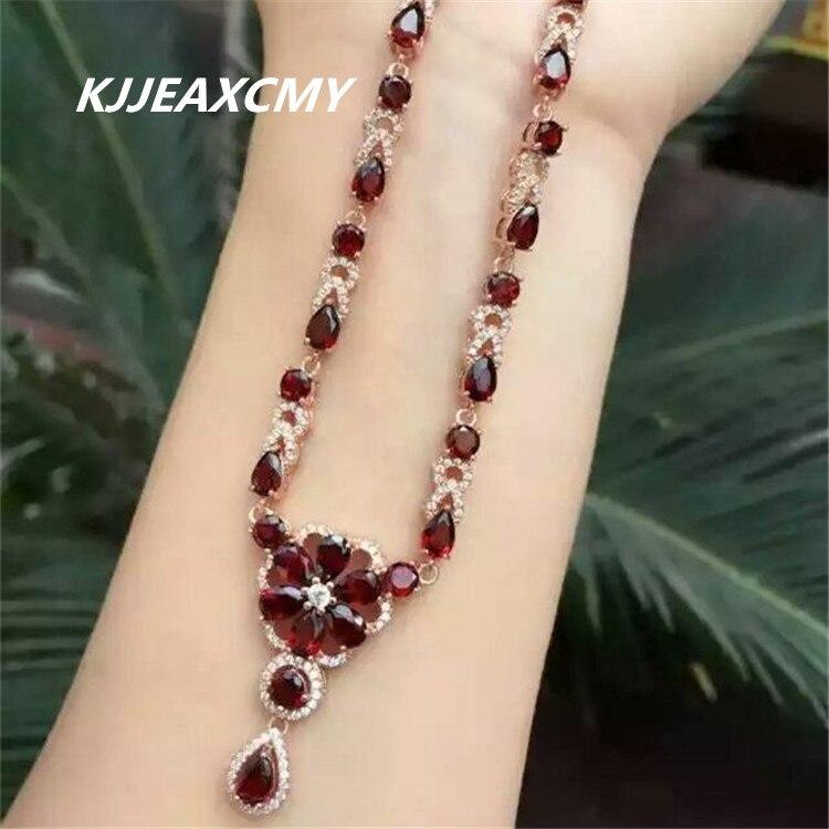 KJJEAXCMY Fine jewelry, S925 Sterling Silver Natural Crystal Garnet Necklace, female jewelry, women's Necklace Pendant