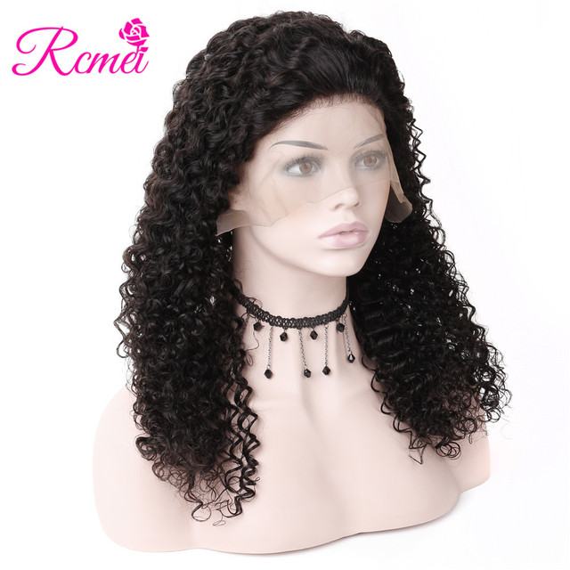 Malaysian Kinky Curly Lace Front Human Hair Wigs Pre Plucked With Baby Hair For Black Women 13x4 Lace Frontal Wig RemyHair Rcmei