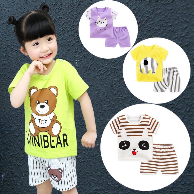 2018 Fashion kids Short-sleeved Suit Baby Boys Girls Cotton T-shirt Shorts Sets Newborn Party Clothes First Birthday Gift