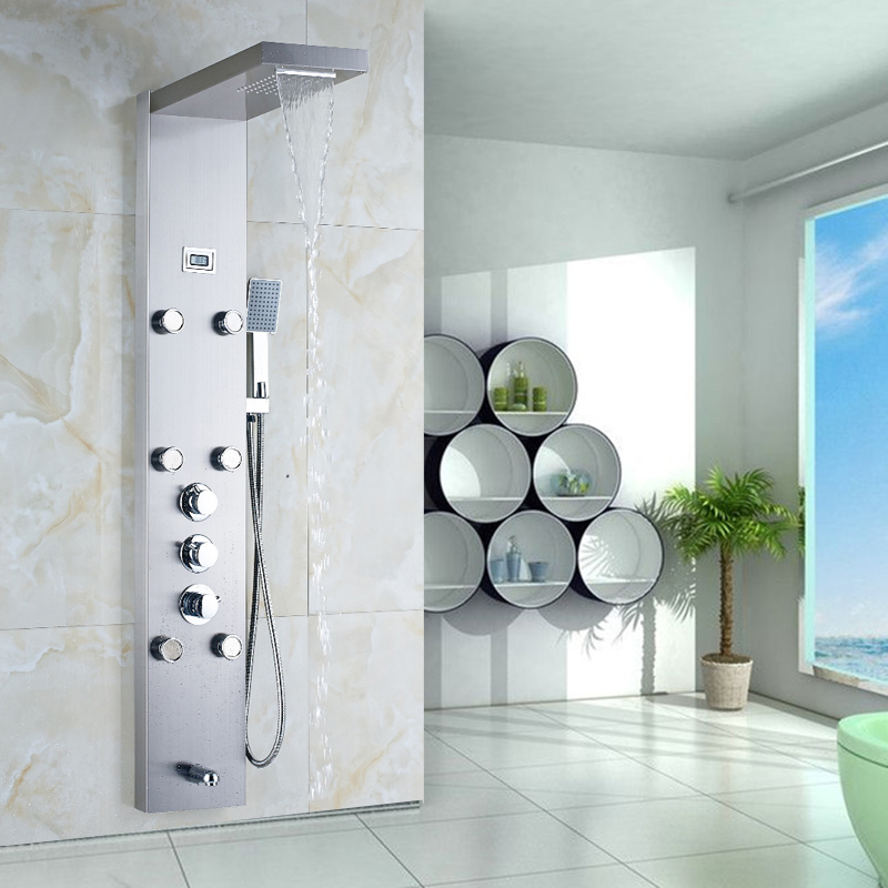 Wall Mounted Thermostatic Shower Panel 6pc Massage Jets Tower Shower Column Temperature Display with Hand Shower custom 3x6m hand painted natural scenic tree backdrop background muslin photography backdrops for family photos adult kids 3006