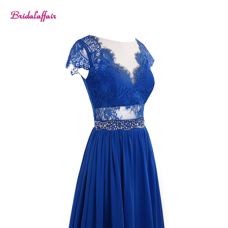 Bleu robes de bal col en V robes de soirée 2019 manches courtes robes de bal Graduation longues robes de soirée pour les femmes - 4