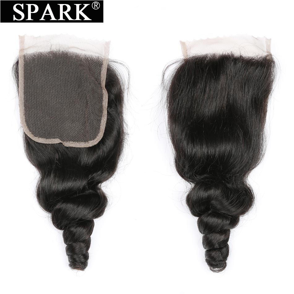Brazilian Loose Wave Lace Closure 4x4 Free/Middle/Three Part Swiss Lace Closure Natural Color Bleach Knot Spark Remy Human Hair