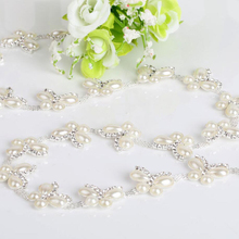 1Yard Crystal Rhinestone Trim Chain Pearl Sew On Trims Wedding Dress Costume Applique Patch