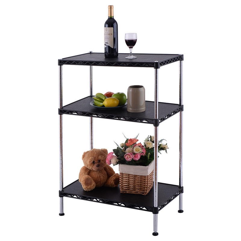 3 Tiers Adjustable Storage Rack Display Shelf Bookcases Standing Shelves for Living Bedroom Room Kitchen Office HW54068